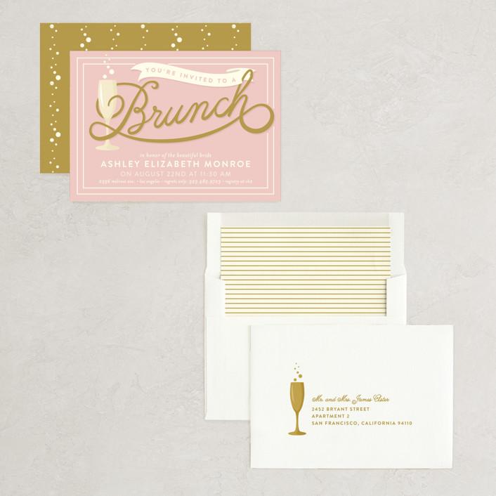 9026b73e9da7 Bubbly Brunch Bridal Shower Invitations by GeekInk Design