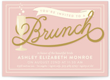 This is a pink bridal shower invitation by GeekInk Design called Bubbly Brunch with standard printing on signature in standard.