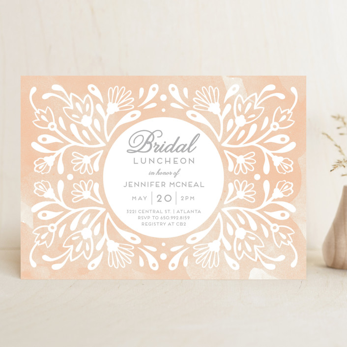 """""""Flourishing Blooms Bridal Luncheon"""" - Floral & Botanical Bridal Shower Invitations in Creamsicle by Paper Raven Co.."""
