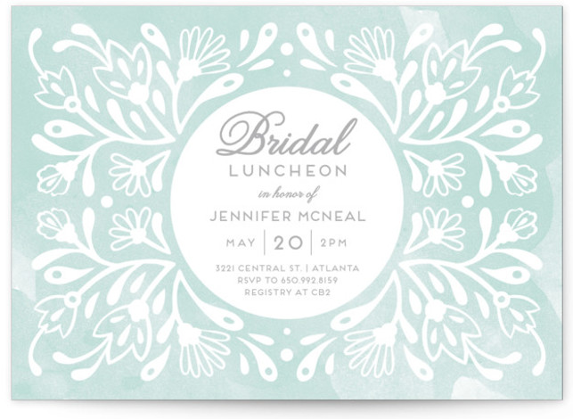 This is a landscape floral, blue Bridal Shower Invitations by Paper Raven Co. called Flourishing Blooms Bridal Luncheon with Standard printing on Signature in Classic Flat Card format. Our unique bridal shower designs are fully customizable, sourced from independent designers ...
