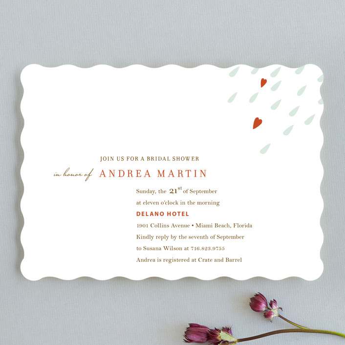"""Love is in the Air"" - Whimsical & Funny Bridal Shower Invitations in Persimmon by Oscar & Emma."