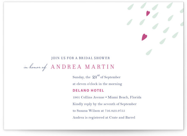 This is a landscape whimsical, pink Bridal Shower Invitations by Oscar & Emma called Love is in the Air with Standard printing on Signature in Classic Flat Card format. Our unique bridal shower designs are fully customizable, sourced from independent ...