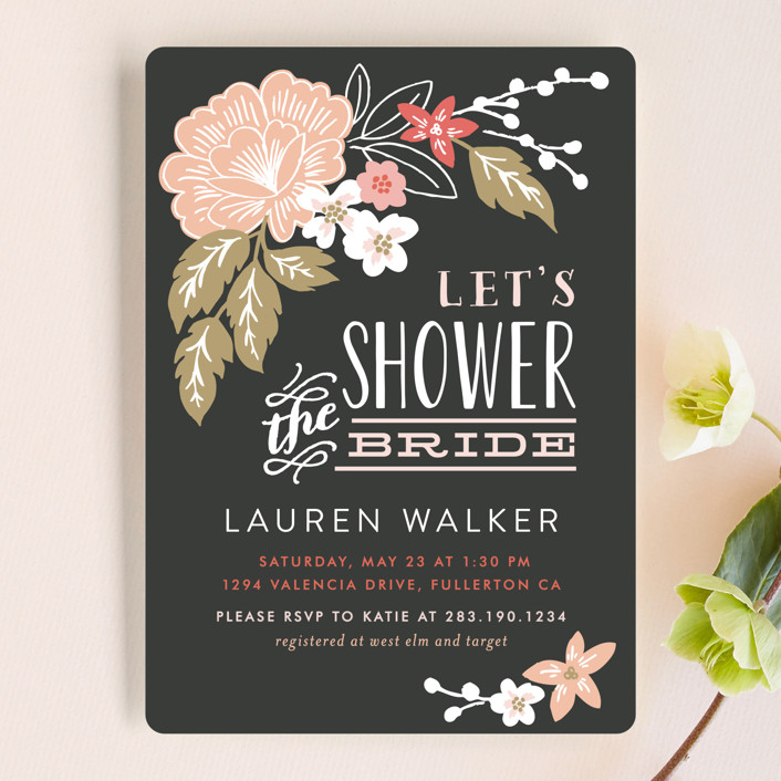 """""""Pressed Flowers"""" - Bridal Shower Invitations in MIdnight by Alethea and Ruth."""