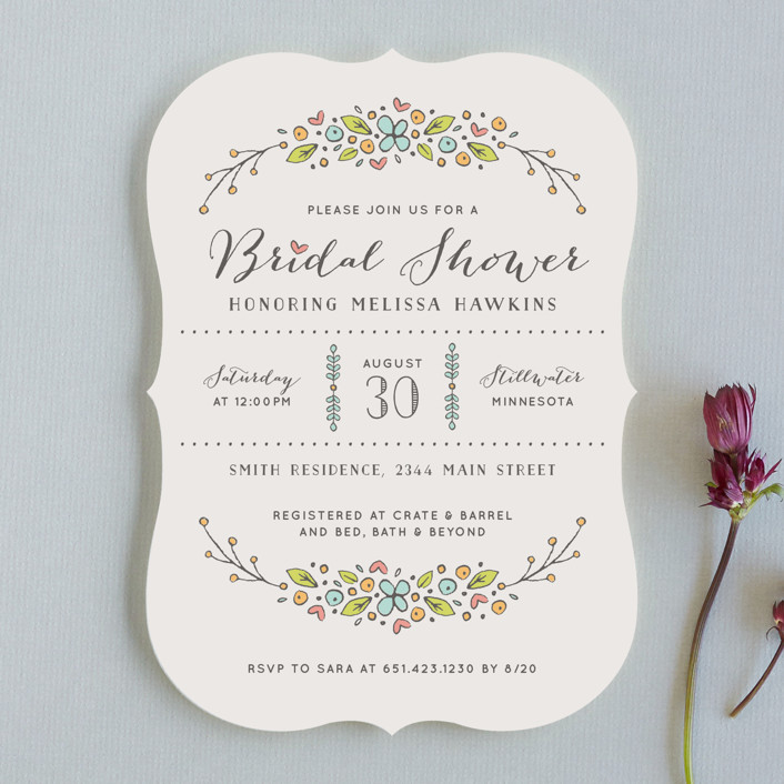 """Flowers and Hearts"" - Monogrammed Bridal Shower Invitations in Aqua Blue by Michelle Taylor."