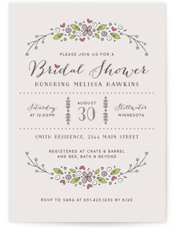 This is a portrait monogrammed, purple Bridal Shower Invitations by Michelle Taylor called Flowers and Hearts with Standard printing on Signature in Classic Flat Card format. This is a floral inspired shower invitation.