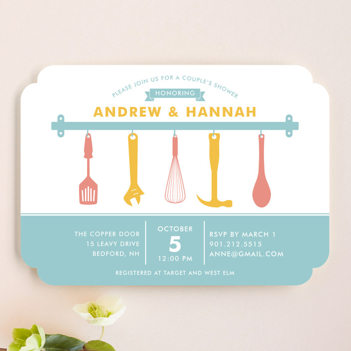 """""""His and Hers Couple's"""" - Bridal Shower Invitations in Pool by Joanna West."""
