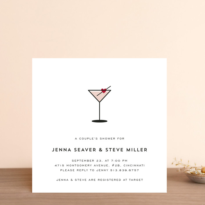 """""""Love Cocktail"""" - Modern Bridal Shower Invitations in Berry by Kim Dietrich Elam."""