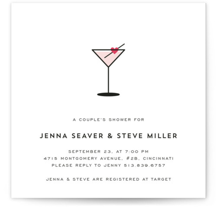This is a square modern, pink Bridal Shower Invitations by Kim Dietrich Elam called Love Cocktail with Standard printing on Signature in Classic Flat Card format. Simple, with a hint of romance. Perfect for any bridal or couple's shower, or ...