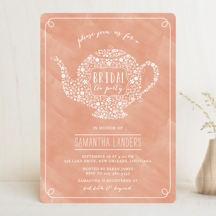 """Floral Tea"" - Floral & Botanical, Elegant Bridal Shower Invitations in Salmon by Chasity Smith."