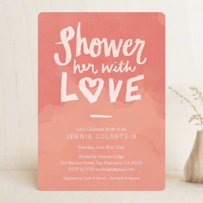 """Shower with Love"" - Modern Bridal Shower Invitations in Peach by June Letters Studio."