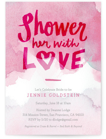 This is a portrait modern, pink Bridal Shower Invitations by June Letters Studio called Shower with Love with Standard printing on Signature in Classic Flat Card format. This hand lettered bridal shower invite is a great non traditional design for ...
