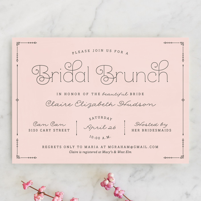 Blushing Brunch Bridal Shower Invitations by carly reed walker Minted
