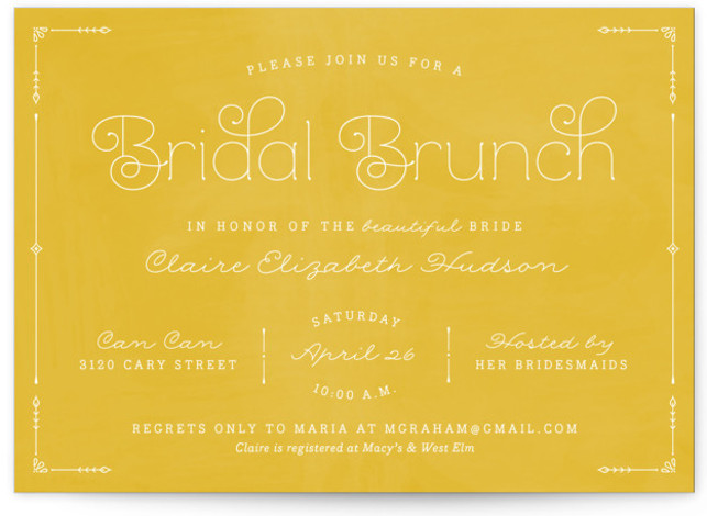 This is a landscape elegant, simple, vintage, yellow Bridal Shower Invitations by carly reed walker called Blushing Brunch with Standard printing on Signature in Classic Flat Card format. A sweet and sophisticated brunch/shower invitation, inspired by a Parisian cafe.
