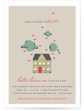 This is a portrait hand drawn, whimsical, red Bridal Shower Invitations by Jennifer Postorino called Home Is Where the Heart Is with Standard printing on Signature in Classic Flat Card format. This hand drawn bridal shower design is perfect for ...