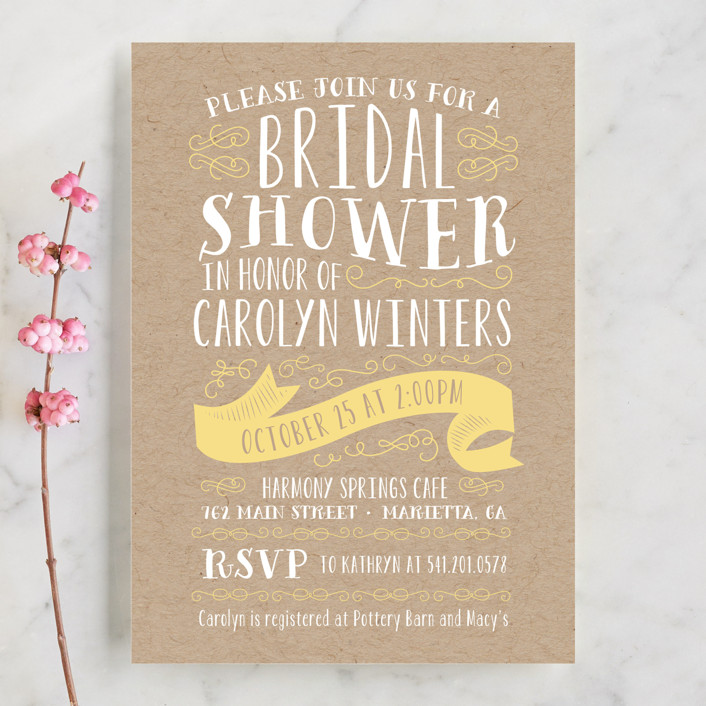 """""""Delightful"""" - Bold typographic Bridal Shower Invitations in Buttercup by Sarah Brown."""