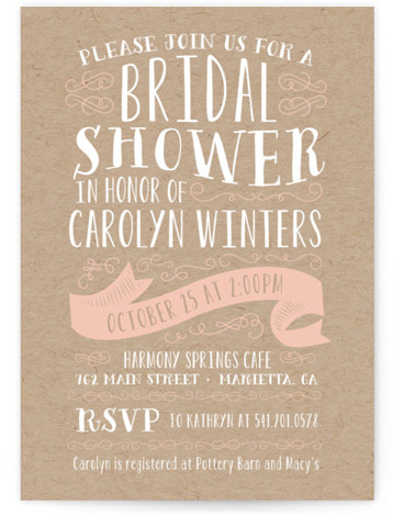 This is a portrait bold typographic, pink Bridal Shower Invitations by Sarah Brown called Delightful with Standard printing on Signature in Classic Flat Card format. Vintage inspired bridal shower invitation featuring whimsical typography and a kraft style background.