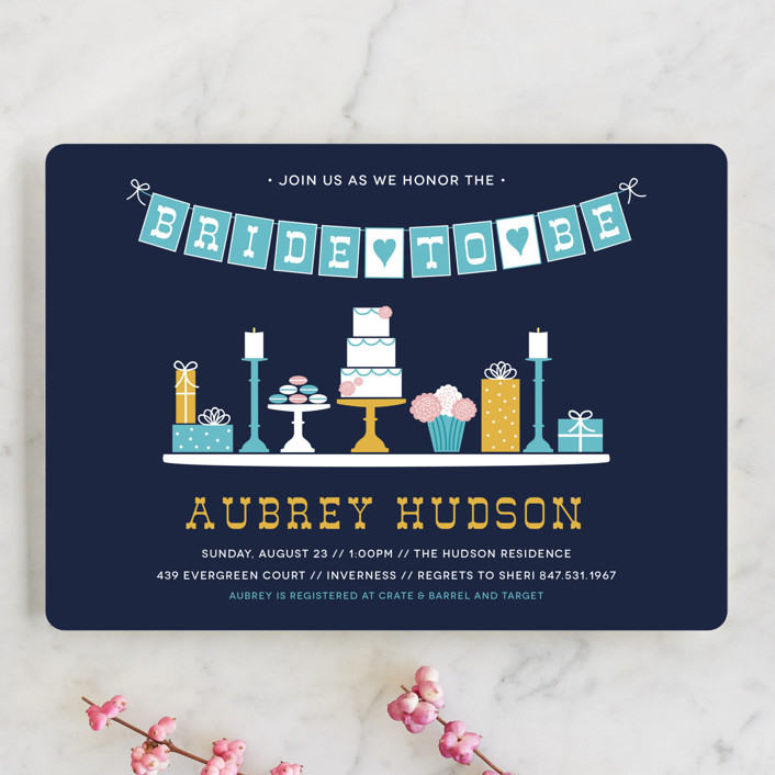 """""""Sweet Treats"""" - Whimsical & Funny Bridal Shower Invitations in Teal by Beth Schneider."""