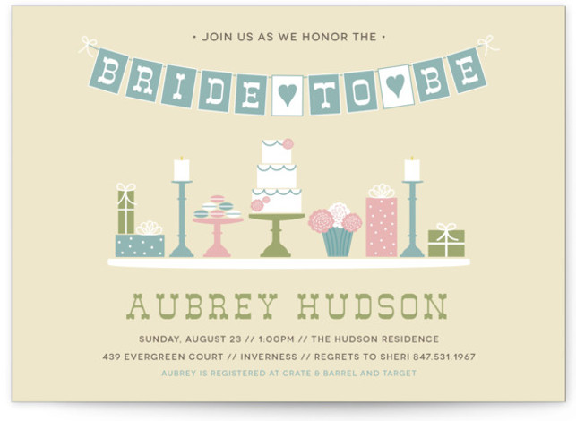 This is a landscape whimsical, beige, green Bridal Shower Invitations by Beth Schneider called Sweet Treats with Standard printing on Signature in Classic Flat Card format. This bridal shower invitation features a hand drawn sweets table including everything from cake ...