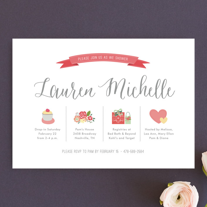"""Basics"" - Bridal Shower Invitations in Salmon by Lauren Michelle."