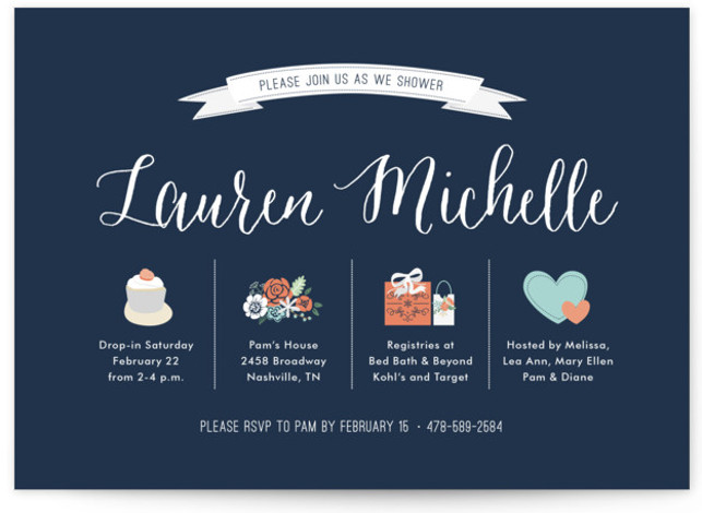 This is a landscape blue Bridal Shower Invitations by Lauren Michelle called Basics with Standard printing on Signature in Classic Flat Card format. Minimalistic, chic bridal shower invite with all the important details covered in a clean and simple fashion ...