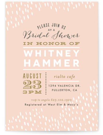 This is a portrait pink Bridal Shower Invitations by Alethea and Ruth called Sprinkled with Standard printing on Signature in Classic Flat Card format. This shower invitation features hand drawn texture in a rainfall like pattern.