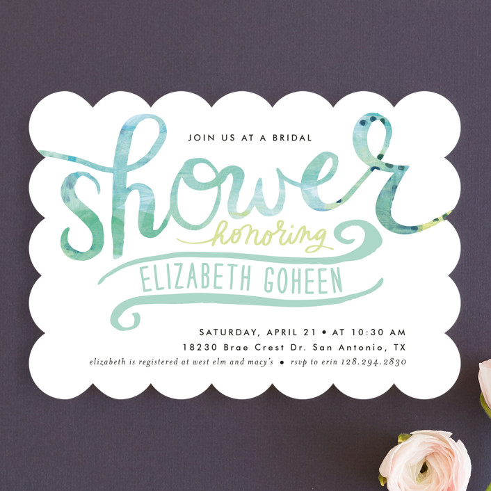 """Painted Script Swash"" - Modern Bridal Shower Invitations in Aqua by Alethea and Ruth."