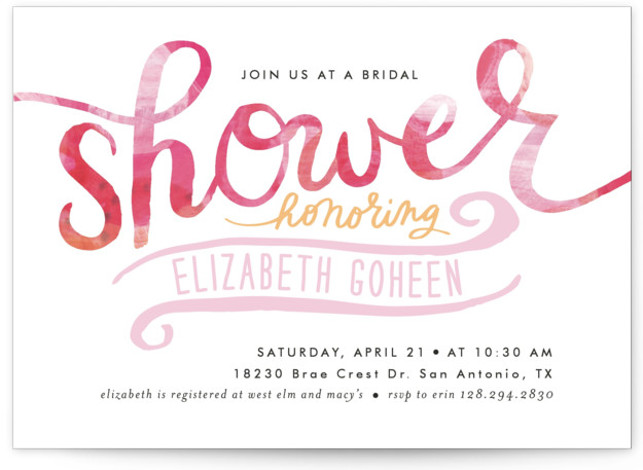 This is a landscape modern, pink Bridal Shower Invitations by Alethea and Ruth called Painted Script Swash with Standard printing on Signature in Classic Flat Card format. This bridal shower invitation features a bold painted pattern and script type.