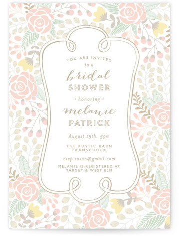 This is a portrait floral, green Bridal Shower Invitations by Phrosne Ras called Beautiful Bouquet with Standard printing on Signature in Classic Flat Card format. An ultra feminine shower invitation for a lovely lady.