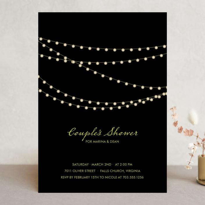 """Midnight Vineyard"" - Modern Bridal Shower Invitations in Midnight by Design Lotus."