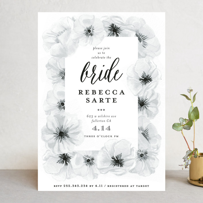 """""""Ink Plate Floral Frame"""" - Bridal Shower Invitations in Ink Plate by Shiny Penny Studio."""