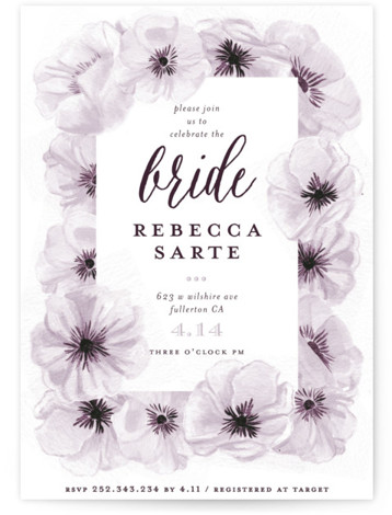 This is a purple Bridal Shower Invitations by Shiny Penny Studio called Ink Plate Floral Frame with Standard printing on Signature in Classic Flat Card format. This bridal shower invitation features hand painted and ink drawn anemone florals arranged in ...