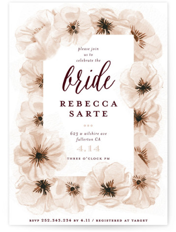 This is a red Bridal Shower Invitations by Shiny Penny Studio called Ink Plate Floral Frame with Standard printing on Signature in Classic Flat Card format. This bridal shower invitation features hand painted and ink drawn anemone florals arranged in ...