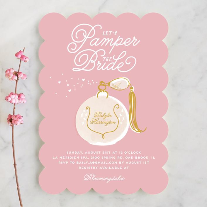 """Pamper"" - Bridal Shower Invitations in Aqua by Baumbirdy."