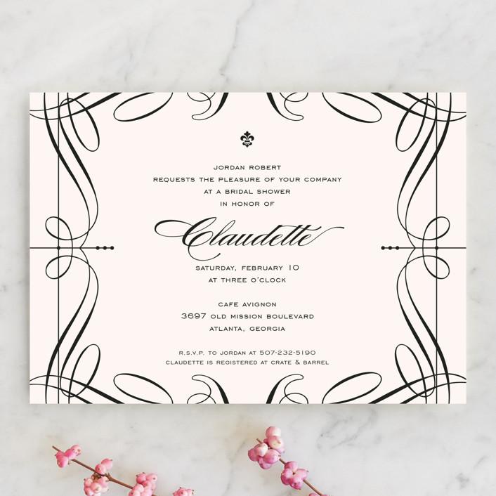 """Opera"" - Vintage, Formal Bridal Shower Invitations in Tuxedo by Cococello."