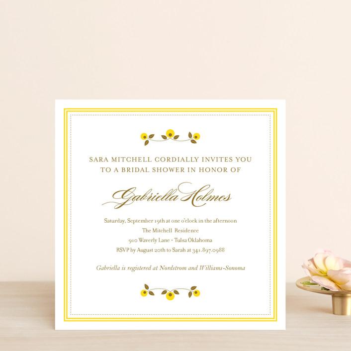 """""""Petite Fleur"""" - Floral & Botanical Bridal Shower Invitations in Daffodil by Oscar & Emma."""