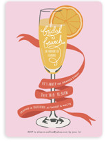 This is a pink bridal shower invitation by Shiny Penny Studio called Mimosa Brunch with standard printing on signature in standard.