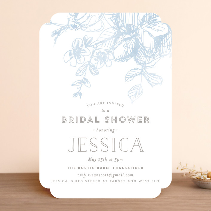 """Elegance Illustrated"" - Bridal Shower Invitations in Sky by Phrosne Ras."