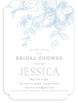 This is a blue bridal shower invitation by Phrosne Ras called Elegance Illustrated with standard printing on signature in standard.
