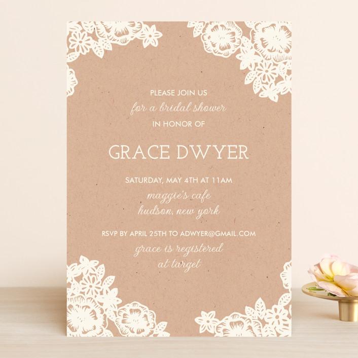 """Lace and Kraft"" - Vintage, Floral & Botanical Bridal Shower Invitations in Kraft by Katharine Watson."