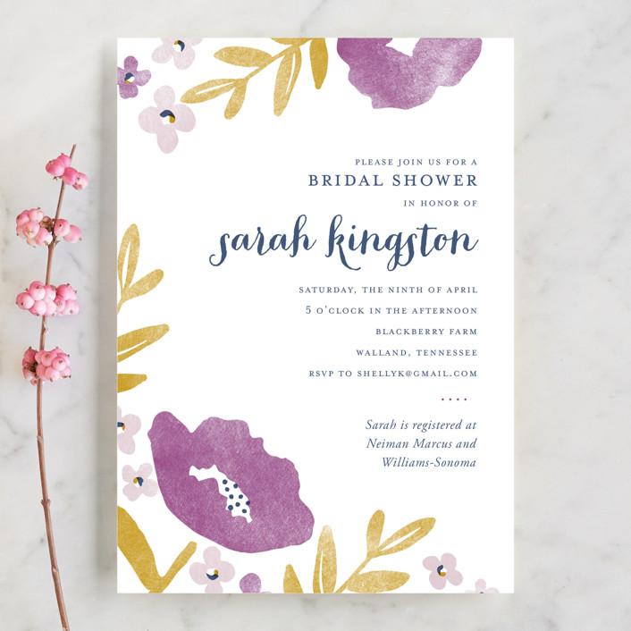 """""""Fresh Cut"""" - Floral & Botanical, Elegant Bridal Shower Invitations in Plum by Oscar & Emma."""