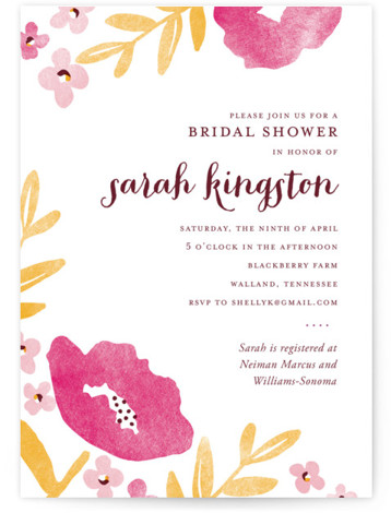 This is a portrait elegant, floral, pink Bridal Shower Invitations by Oscar & Emma called Fresh Cut with Standard printing on Signature in Classic Flat Card format. Our unique bridal shower designs are fully customizable, sourced from independent designers and ...