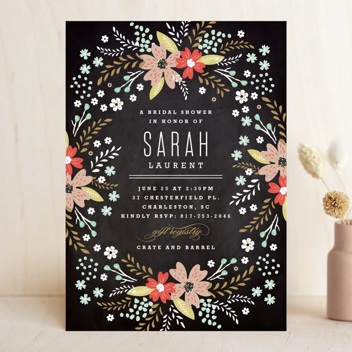 """Chalkboard Floral"" - Bridal Shower Invitations in Peony by Kristie Kern."