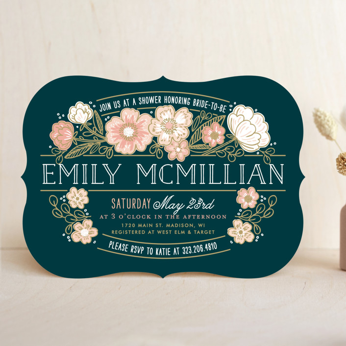 """""""Country Florals"""" - Floral & Botanical, Rustic Bridal Shower Invitations in Navy by Alethea and Ruth."""