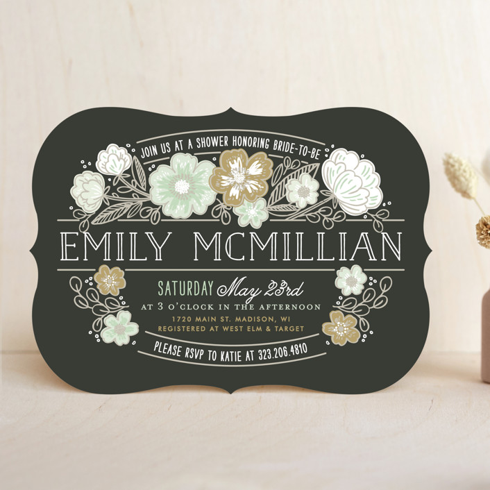 """Country Florals"" - Bridal Shower Invitations in Navy by Alethea and Ruth."