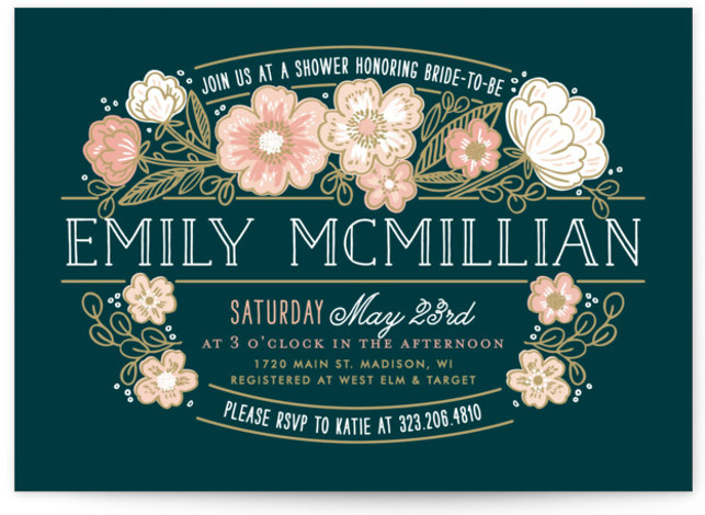 This is a landscape botanical, blue Bridal Shower Invitations by Alethea and Ruth called Country Florals with Standard printing on Signature in Classic Flat Card format. Our unique bridal shower designs are fully customizable, sourced from independent designers and printed ...