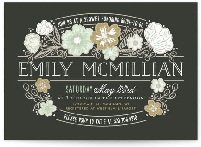 This is a landscape botanical, brown Bridal Shower Invitations by Alethea and Ruth called Country Florals with Standard printing on Signature in Classic Flat Card format. Our unique bridal shower designs are fully customizable, sourced from independent designers and printed ...