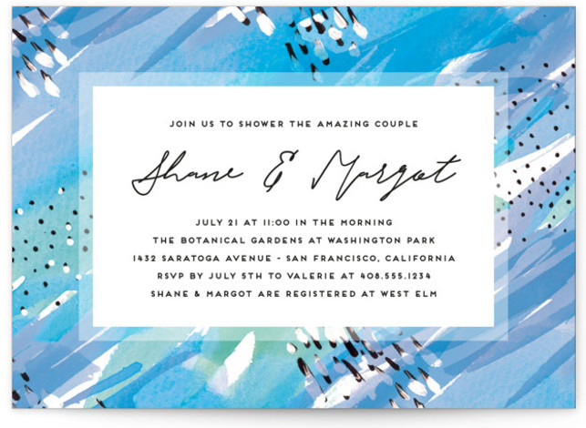 This is a bohemian, blue Bridal Shower Invitations by Simona Camp called Bright Celebration with Standard printing on Signature in Classic Flat Card format. Bright and playful couple's shower design with a hand painted background pattern.