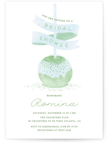 This is a green Bridal Shower Invitations by iamtanya called Sweet Cake Pop with Standard printing on Signature in Classic Flat Card format. A bridal shower party invitation features a cake pop dusted with rose gold glitter.