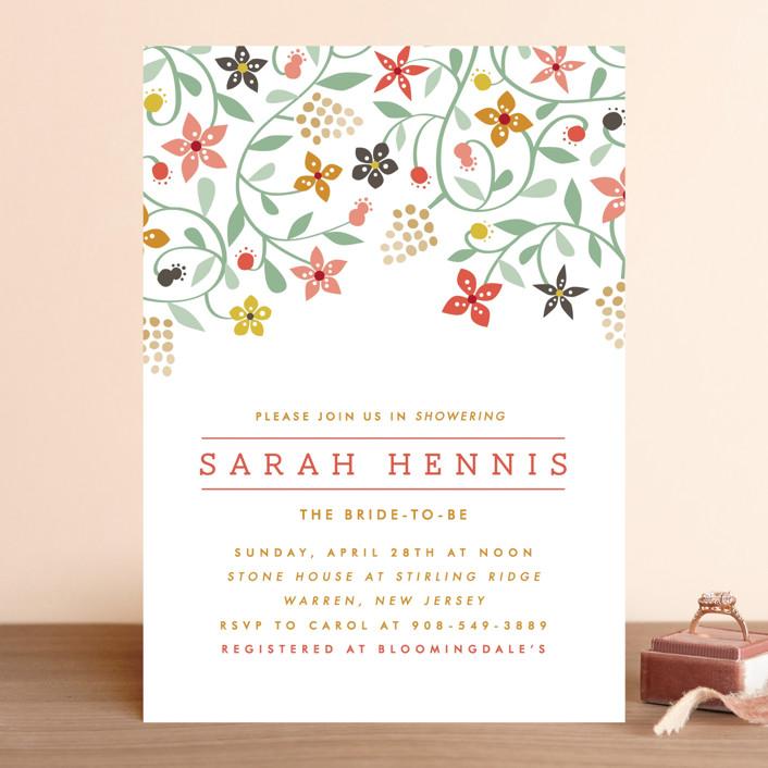 """Botanical Affair"" - Floral & Botanical Bridal Shower Invitations in Coral by Yolanda Mariak Chendak."