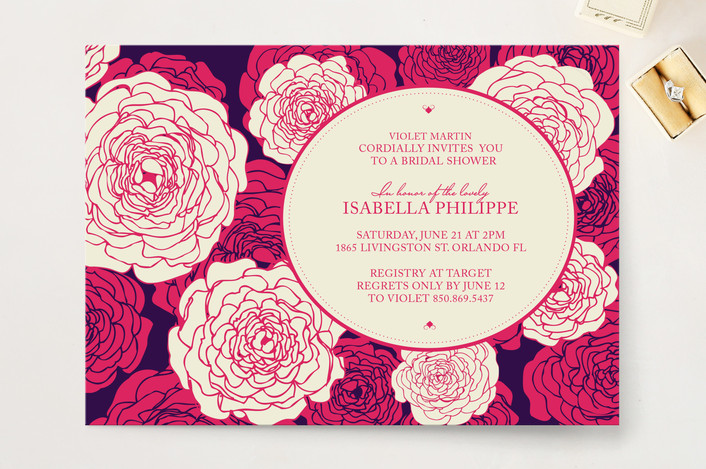 """""""Sweetly Florals"""" - Modern, Floral & Botanical Bridal Shower Invitations in Hot Pink by Vanessa An Lim."""
